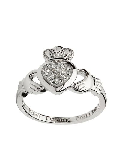 Claddagh Silver Ring Encrusted With White Swarovski Crystal