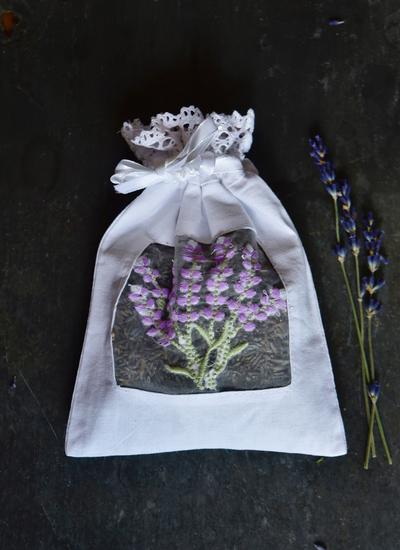 Embroidered Lavender Voile Sachet