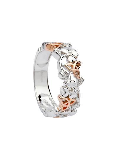 Sterling Silver & Irish Rose Gold Trinity Shamrock Ring