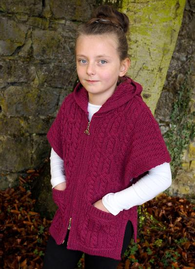 Kids Aran Hooded Cape