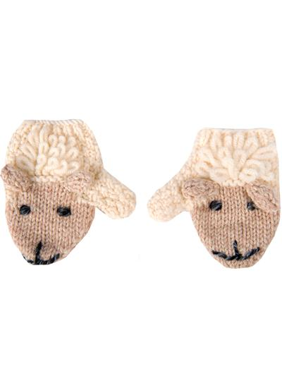 Kids Hand-Knit Sheep Mittens