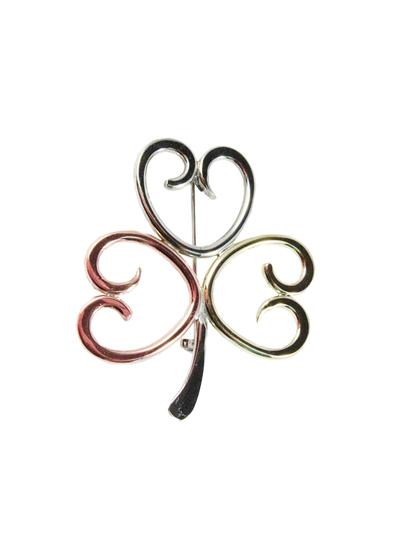 Tri Color Shamrock Brooch