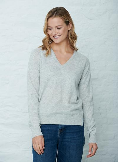 Wool Cashmere V-Neck Sweater