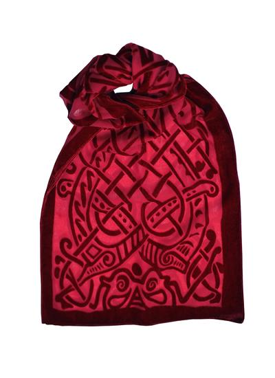 Celtic Burn Out Velour Scarf - Red