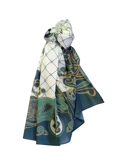 Book of Kells Celtic Fashion Scarf - Cream & Green