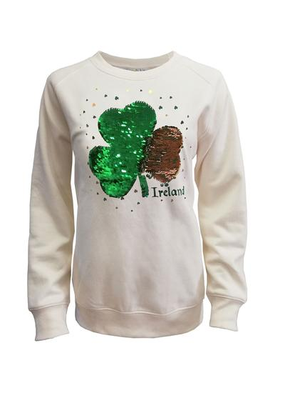 Ladies Cream Reversible Sequin Shamrock Sweatshirt
