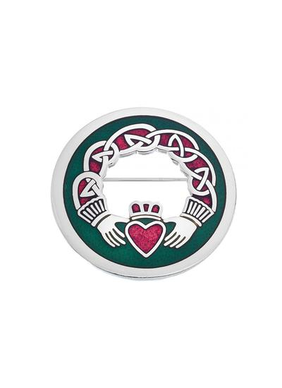 Large Enamel Claddagh Brooch