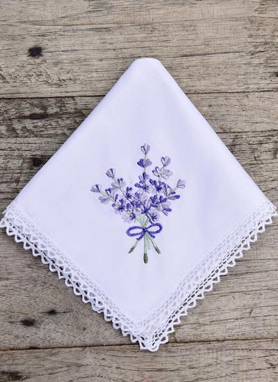 Lavender Embroidered Handkerchiefs Set of 2