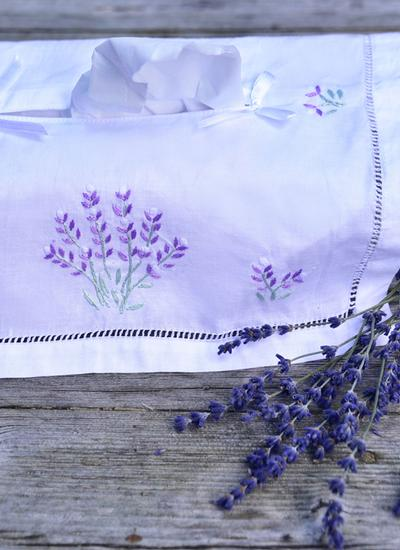 Lavender Embroidered Tissue Box Cover