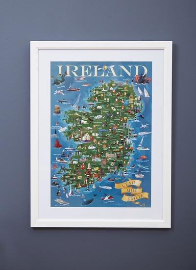 Map of Ireland A2 Poster