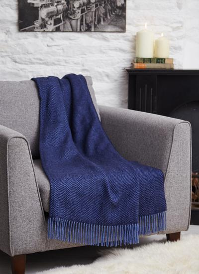 Navy Blue Herringbone Lambswool Throw