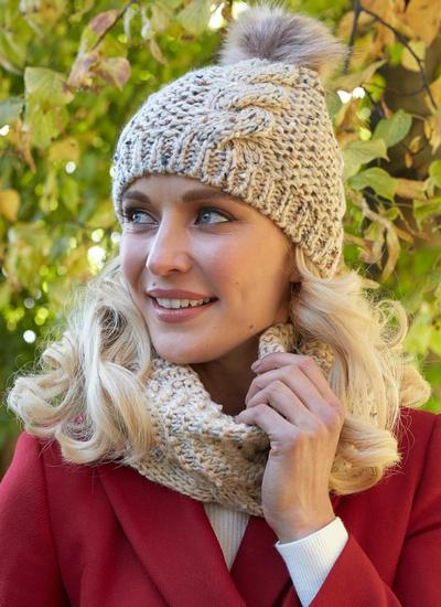 Oatmeal Speckle Wool Bobble Hat & Infinity Scarf Set