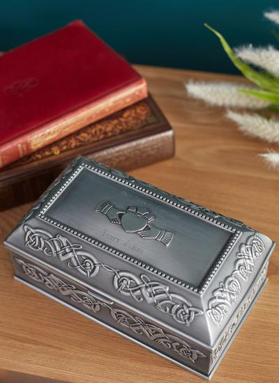 Personalized Antique Claddagh Jewelry Box