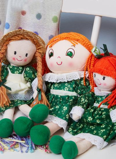 Grainne Irish Rag Doll With Shamrock Dress