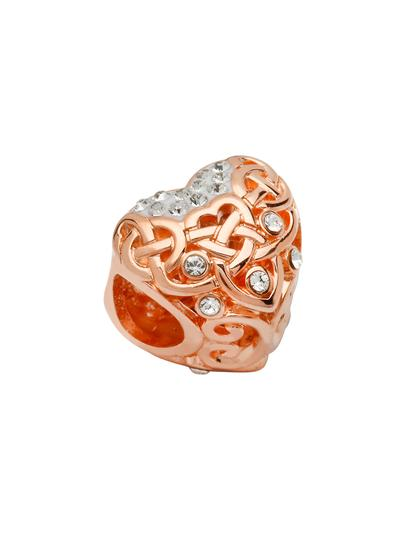 Rose Gold Celtic Heart Bead Adorned With Swarovski Crystals