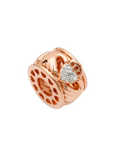 Rose Gold Claddagh Bead Adorned With Swarovski Crystals