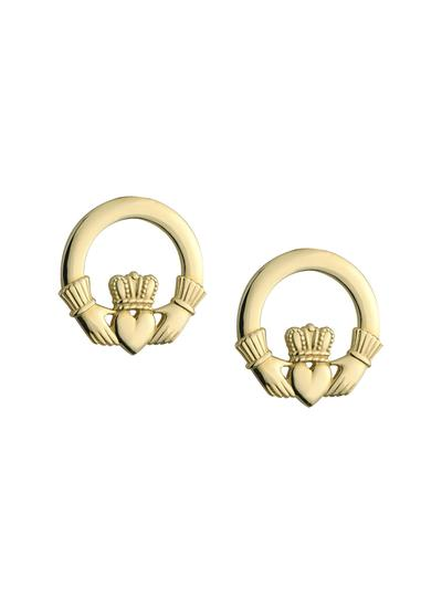 14K Gold Small Claddagh Stud Earrings