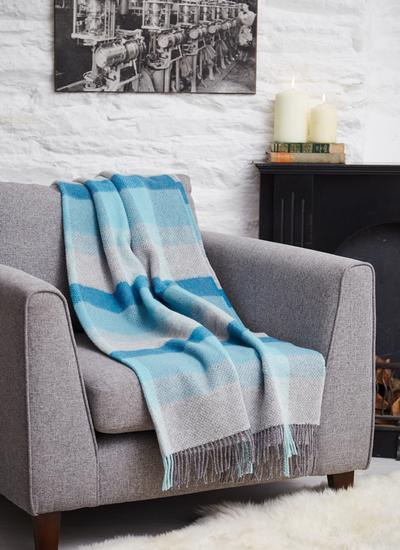 Spring Blue Wool Cashmere Throw