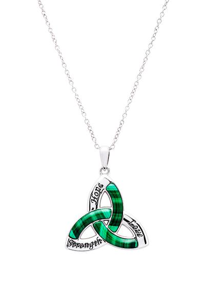 Sterling Silver Malachite Trinity Knot Pendant