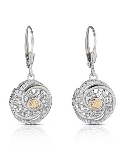 Sterling Silver & 18K Gold Bead Solstice Swirl Earrings