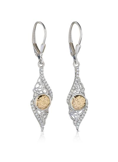 Sterling Silver & 18K Gold Bead Solstice Twisted Earrings
