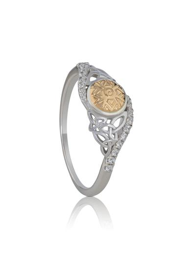 Sterling Silver & 18K Gold Bead Solstice Twisted Ring