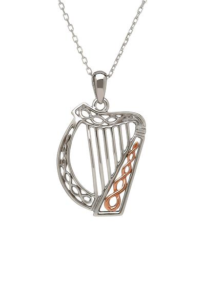 Sterling Silver & Irish Rose Gold Celtic Harp Pendant