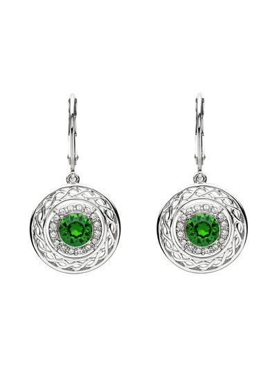Sterling Silver Celtic Earrings Embellished With Swarovski Crystals