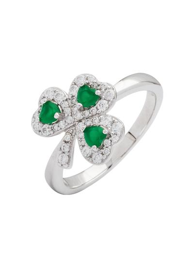 Sterling Silver Cubic Zirconia Shamrock Ring