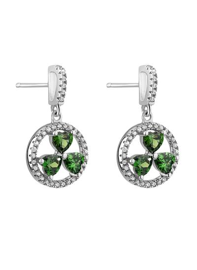 Sterling Silver Shamrock Cubic Zirconia Earrings