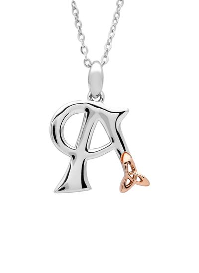 Sterling Silver & Rose Gold Trinity Knot Initial Pendant - A