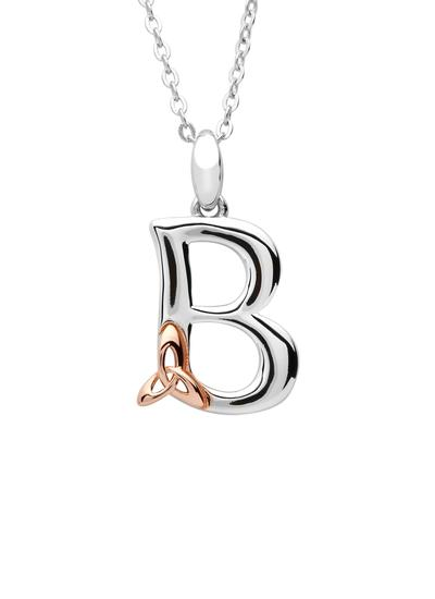 Sterling Silver & Rose Gold Trinity Knot Initial Pendant - B