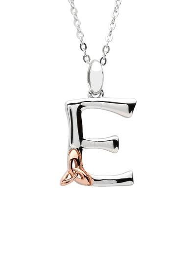 Sterling Silver & Rose Gold Trinity Knot Initial Pendant - E