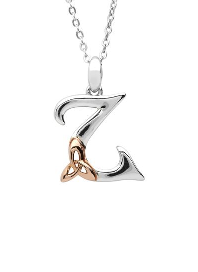 Sterling Silver & Rose Gold Trinity Knot Initial Pendant - Z