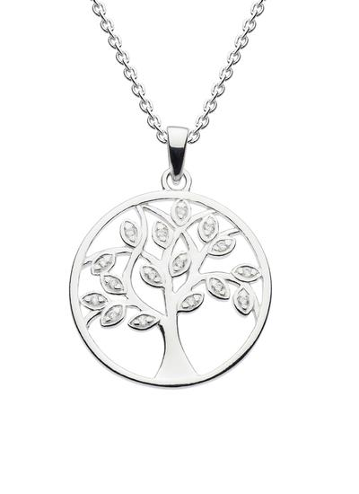 Sterling Silver Tree of Life White Cubic Zirconia Pendant