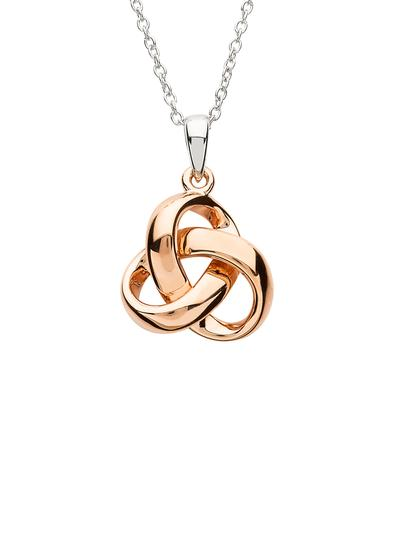 Sterling Silver Trinity Knot Rose Gold Plated Pendant