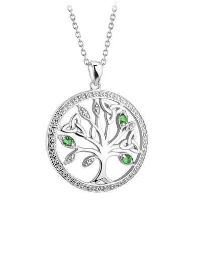 Sterling Silver Crystal Illusion Tree of Life Pendant