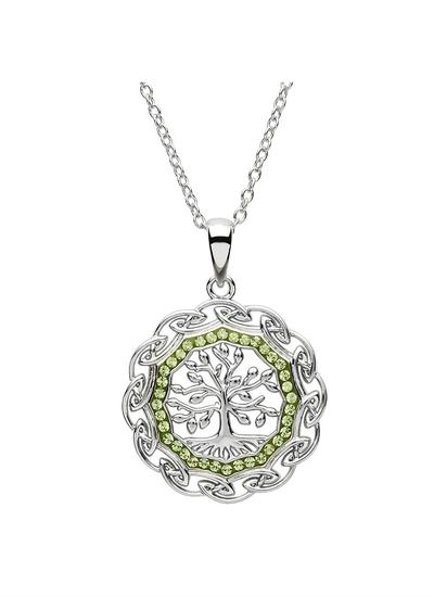Celtic Silver Tree Of Life Pendant Embellished With Swarovski Crystal