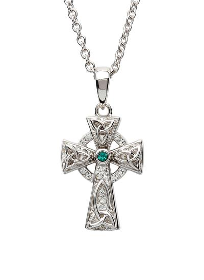 Sterling Silver Celtic Trinity Cross Adorned With Swarovski Crystals