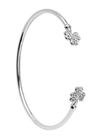Sterling Silver Shamrock Swarovski Bangle