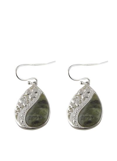 Connemara Marble Shamrock Teardrop Earrings