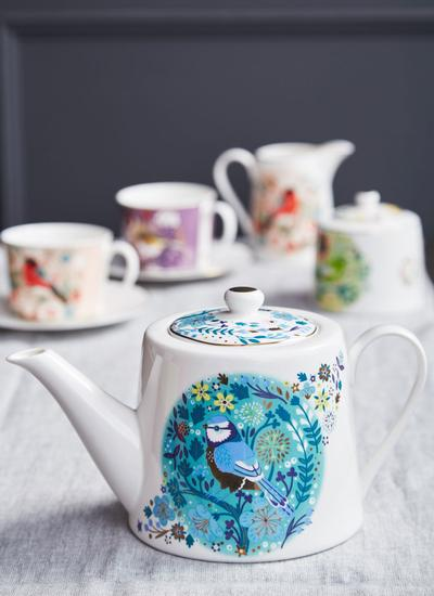 Birdy Robin and Blue Tit Teapot