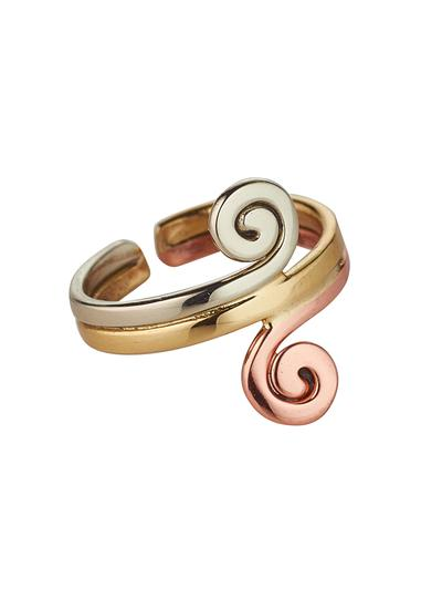 Tri Color Double Spiral Ring