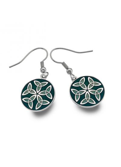 Trinity Knot Green Enamel Earrings