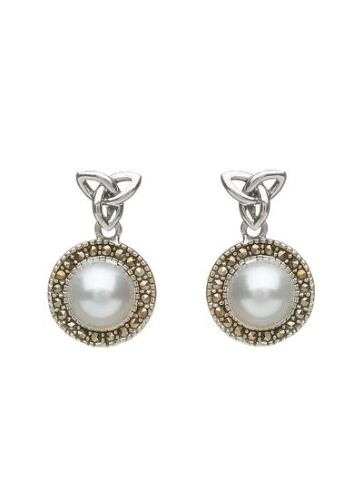 Trinity Knot Marcasite & Pearl Earrings