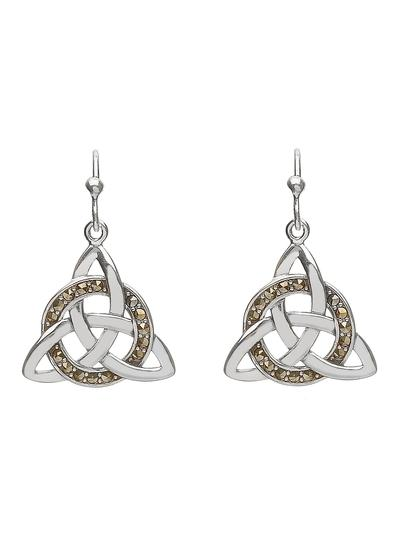 Trinity Knot Marcasite Drop Earrings