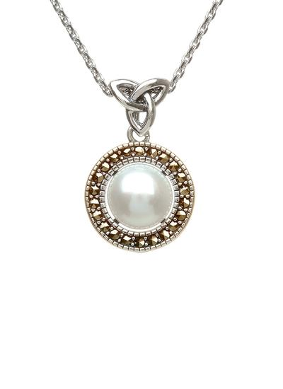 Trinity Knot Marcasite & Pearl Pendant