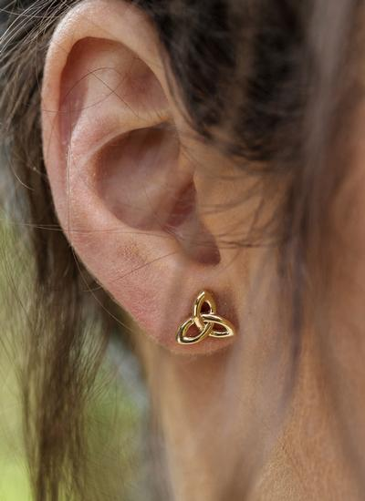 10K Gold Trinity Knot Stud Earrings