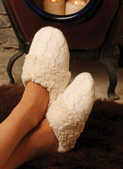 Unisex Cable Knit Aran Slippers