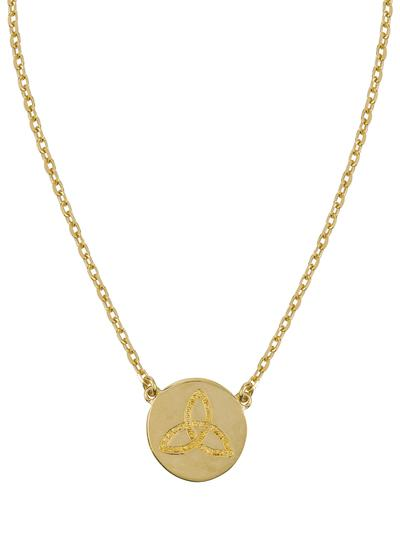 18K Gold Plated Trinity Knot Disc Pendant